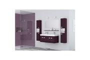 No-name Salle de bain complete alpos ensemble salle de bain double vasque avec miroir l 120 cm - laqué aubergine brillant