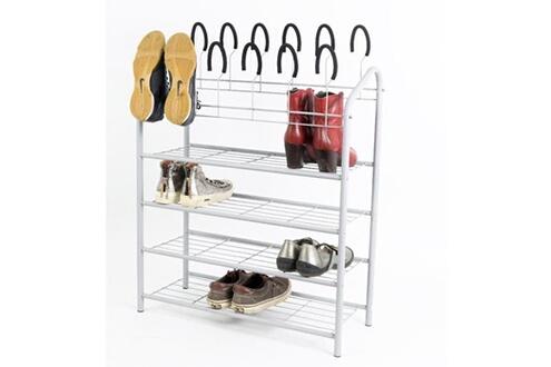 No-name Portant amovible - penderie mobile étagere a chaussures métallique blanc - 27x70x88cm - jusqu'a 18 paires