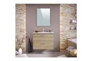 No-name Salle de bain complete stella ensemble salle de bain simple vasque avec miroir l 80 cm - décor chene