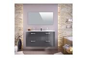 No-name Salle de bain complete stella ensemble salle de bain double vasque avec miroir l 120 cm - gris laqué brillant