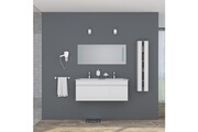 No-name Salle de bain complete alban ensemble salle de bain double vasque avec miroir l 120 cm - blanc laqué brillant