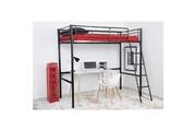 No-name Lit mezzanine lit mezzanine enfant leijona avec sommier - style contemporain - en tubes d'acier laqués époxy noir - l 200 x p 98 cm