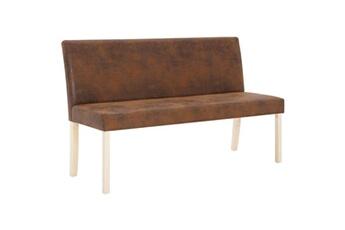 Banquette pouf tabouret meuble banc 139 cm marron similicuir daim helloshop26 3002170