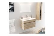No-name Salle de bain complete alban ensemble salle de bain simple vasque avec miroir l 80 cm - décor bois naturel