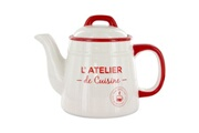 Promobo Theiere en céramique déco rétro vintage atelier de cuisine 80cl rouge