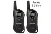 YONIS Set talkie walkie push to talk portée 3 à 5 km lcd 8 canaux pré-enregistré noir - yonis