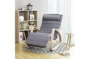 Corner-auto Usinedistrib chaise berçante relaxante en bois de bouleau avec repose-pieds réglable charge maximale: 150 kg de lin gris lyy11g