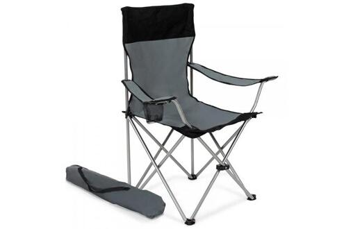 Helloshop26 Lot de 2 chaises pliante camping + housse grise helloshop26 2008038