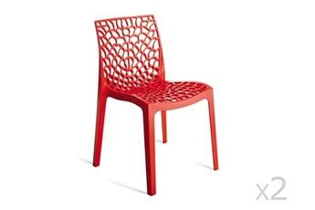 Chaise empilable en polypro rouge (lot de 2) gruvyer