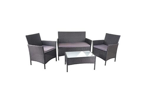 Décoshop26 Salon de jardin avec fauteuils banc et table en poly-rotin noir  et coussin anthracite mdj04149