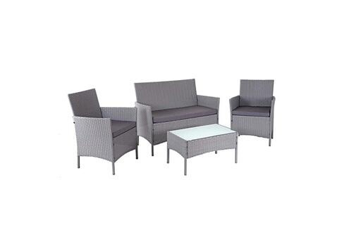 Décoshop26 Salon de jardin avec fauteuils banc et table en poly-rotin gris  et coussin anthracite mdj04147