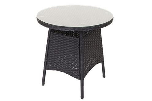 Décoshop26 Salon de jardin avec fauteuils et table en poly-rotin anthracite  et coussin crème mdj04140