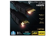 Elitecable Cable hdmi 2.0 2m 4k hdr uhd high speed ethernet 3d audio arc lecteur blu-ray xbox 360 ps3 ps4 tv