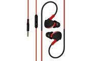 Shot Case Ecouteurs sport pour smartphone samsung, huawei, sony, etc avec micro et bouton son kit main libre intra-auriculaire jac (rouge)