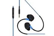 Shot Case Ecouteurs sport pour smartphone samsung, huawei, sony, etc avec micro et bouton son kit main libre intra-auriculaire jack uni (bleu)
