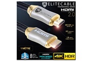 Elitecable Cable hdmi 2.0 1m 4k hdr uhd high speed ethernet 3d arc nylon tressé lecteur blu-ray xbox 360 ps3 ps4 tv