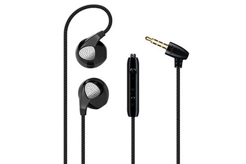 Shot Case Ecouteurs pour smartphone samsung, huawei, sony, etc avec micro kit main libre intra-auriculaire casque universel jack (noir)