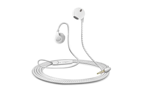 Shot Case Ecouteurs plat pour smartphone samsung, huawei, sony, etc avec micro reglage kit main libre casque universel prise jack (blanc)