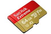Sandisk Carte mémoire microsdxc sandisk extreme 64 go a2 jusqu'à 160 mo/s, classe 10, u3, v30 adaptateur sd inclus