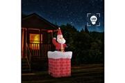 GENERIQUE Décorations de noël et saisonnières gamme kaboul père noël en cheminée mouvement automatique led ip44 180 cm
