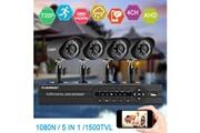 Floureon 1 x 4ch 1080n ahd dvr + 4 x kit caméra ip de sécurité d'appareil photo extérieur 1500tvl 720p 1.0mp eu