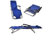 Malatec Transat chaise longue jardin plage 3 positions bleu marine