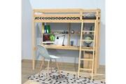 LE QUAI DES AFFAIRES Lit mezzanine studio 140x190 + 1 sommier + caisson 3 tiroirs + bureau + étagère / vernis naturel