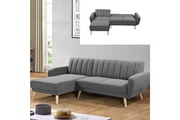 Meubler Design Canapé d'angle clic clac convertible réversible lior scandinave - gris