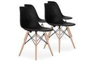 Pn Home Lot de 4 chaises scandinaves noires style eiffel