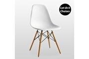 Pn Home Lot de 6 chaises scandinaves blanches style eiffel