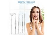 Ckeyin 6pcs outils dentaires par set en acier inoxydable détartreur à crochet pince kit de nettoyage des dents avec étui