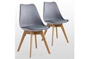 Pn Home Lot de 2 chaises scandinaves grises lorenzo