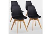 Pn Home Lot de 4 chaises scandinaves noires lorenzo