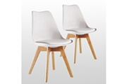 Pn Home Lot de 2 chaises scandinaves blanches lorenzo