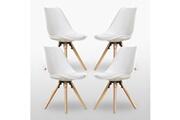 Pn Home Lot de 4 chaises scandinaves blanches sophie rembourrées