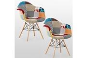 Pn Home Lot de 2 chaises patchwork à accoudoirs style scandinave