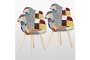 Pn Home Lot de 4 chaises patchwork à accoudoirs