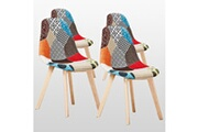 Pn Home Lot de 4 chaises scandinaves patchwork - rembourrées