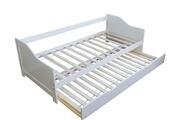 Décoshop26 Lit gigogne avec sommier à lattes banquette tiroir 90x200cm blanc lit06074