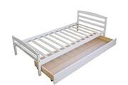 Décoshop26 Lit simple 1 personne 90x200cm sommier à lattes et tiroir de rangement blanc lit060077