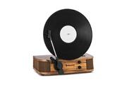 Auna Verticalo se platine vinyle design rétro avec port usb & bluetooth - 3 vitesses de lecture - bois marron