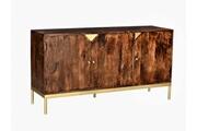 Vente-unique Buffet almaro - 3 portes - bois de manguier et métal doré