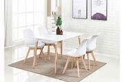 Pn Home Ensemble table et 4 chaises blanches scandinaves lorenzo - salle à manger, cuisine