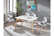 Pn Home Ensemble table à manger blanche + 4 chaises en tissu patchwork - noir & blanc - style scandinave