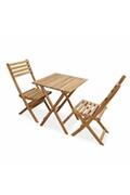 Alice's Garden Salon de jardin en bois bistrot pliable figueres carré, table 60x60cm avec deux chaises pliantes