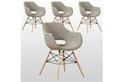 Pn Home Lot de 4 chaises scandinaves en tissu taupe - avec accoudoirs