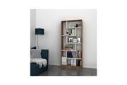 Home Mania Homemania bibliothèque riga avec étagères, meuble de rangement - pour salon, bureau - noyer, blanc en bois, 80 x 22,2 x 180,8 cm
