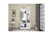 Home Mania Homemania vestiaire - meuble d'entree orion armoire - avec étagères à chaussures, miroir, porte, étagères - blanc en bois, 80 x 32 x 173 cm
