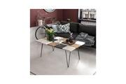 Home Mania Homemania table basse leaf pour salon - blanc, noyer, gris, anthracite en bois, 110 x 66 x 40 cm