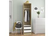 Vidaxl Garde-robe et tiroirs blanc chêne sonoma 50x50x200 cm aggloméré